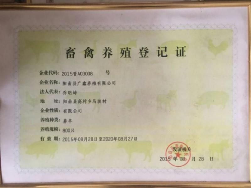 畜禽养殖登记证--广鑫养殖